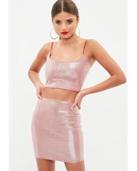 Missguided Red Metallic Co Ord Set