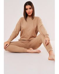 Missguided Rib Loungewear Set - Natural