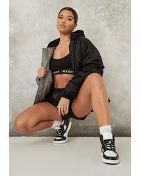 Missguided Splice Hooded Ruched Sleeve Bomber Jacket - Black