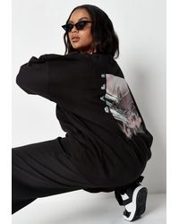 Missguided - Plus Size Black Graphic Sweatshirt - Lyst
