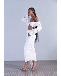 Missguided Aazhia X Ruched Side Maxi Skirt - White