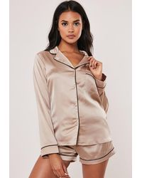Missguided Mink Satin Piping Detail Short Pyjama Set - Multicolour