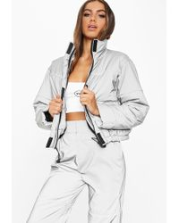 Missguided - Fanny Lyckman X Grey Reflective Piped Puffer Jacket - Lyst