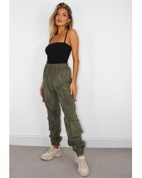 Missguided Tall Khaki Cord Utility Cargo Trousers - Green