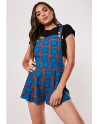 Missguided Petite Blue Check Pinafore Playsuit