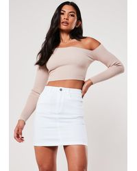 Missguided White Denim Superstretch Denim Mini Skirt