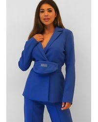 Missguided Bum Bag Waist Blazer - Blue