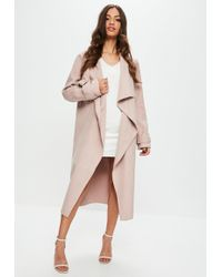 Missguided - Nude Oversized Waterfall Duster Jacket - Lyst