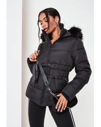 Missguided Faux Fur Hood Belted Puffer Coat - Black