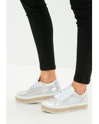 Missguided - White Mesh Platform Sole Shoe - Lyst
