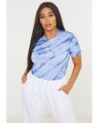 Missguided Size Blue Tie Dye Bodysuit