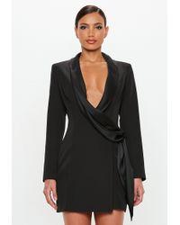 Missguided - Peace + Love Black Drape Wrap Blazer Dress - Lyst