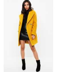 Missguided - Yellow Oversized Boucle Coat - Lyst