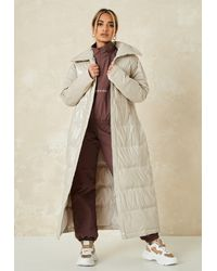 Missguided Quilted Puffer - Natural