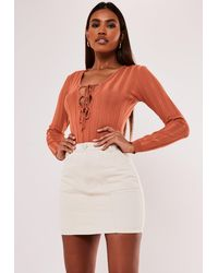 Missguided Rib Lace Up Front Bodysuit - Orange