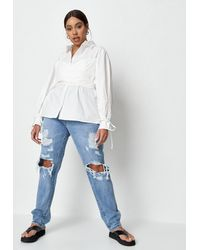 Missguided - Plus Size White Wrap Bralet Shirt - Lyst
