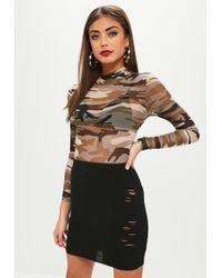 Missguided - Black Distressed Ribbed Mini Skirt - Lyst