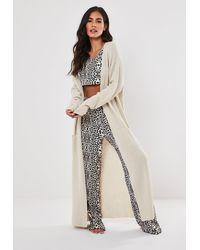 Missguided Ivory Animal Print Pyjama Pants And Crop Top Set - White