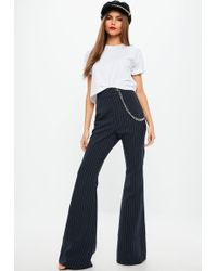 Missguided - Black Pinstripe Chain Cargo Pants - Lyst