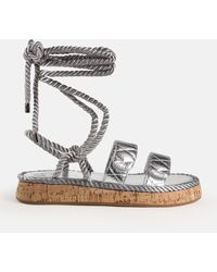 Missguided Rope Tie Up Quilted Flat Sandals - Metallic