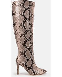 Missguided Snake Over The Knee Mid Heel Boots - Pink