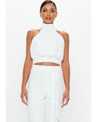 Missguided - Peace + Love Ivory Pleat Detail Tie Back Crop Top - Lyst