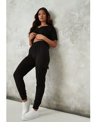 Missguided Loopback Cargo Joggers - Black