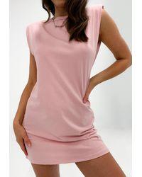 Missguided - Blush Shoulder Pad Mini Dress - Lyst