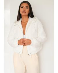 Missguided Faux Fur Bomber Jacket - White
