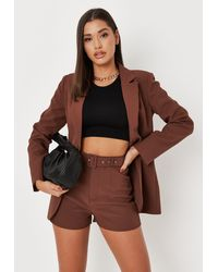 Missguided Tailored Belted Shorts - Brown