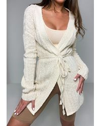 Missguided - Petite Cream Skinny Belted Knitted Cardigan - Lyst