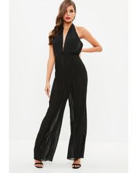 Missguided - Black Pleated Halter Neck Jumpsuit - Lyst
