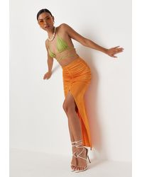 Missguided Orange Slinky Ruched Front Maxi Skirt