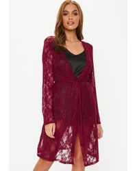 Missguided - Burgundy Lace Dressing Gown - Lyst