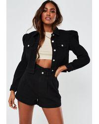 Missguided Co Ord Puff Sleeve Denim Jacket - Black