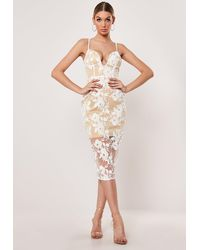 Missguided White Embroidered Mesh Plunge Midi Dress