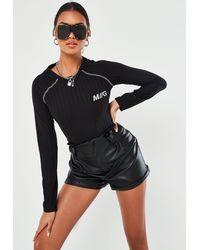Missguided Rib Long Sleeve Mg Slogan Bodysuit - Black