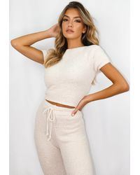 Missguided Cream Co Ord Cosy T Shirt - White