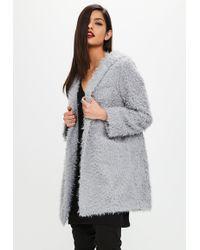 Missguided - Grey Shaggy Longline Faux Fur Coat - Lyst