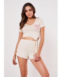 Missguided Cream Fierce Slogan Pyjama Set - Natural