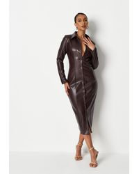 Missguided Button Up Faux Leather Shirt Dress - Brown