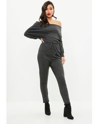 8c31b2a5e1e Missguided Grey Tassel Bardot Top Cropped Pants Set in Gray - Lyst