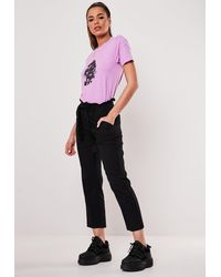 Missguided Black Paperbag Cropped Cigarette Pants