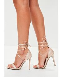 Missguided - Nude Satin Lace Up Barely There Heels - Lyst
