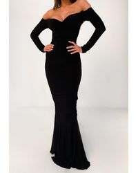 Missguided Slinky Fishtail Maxi Dress - Black