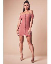 Missguided - Rust Bardot Ribbed Popper Front Mini Dress - Lyst
