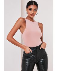 Missguided Nude Seam Free Racer Neck Bodysuit - Natural