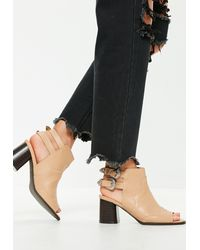 Missguided Open Back Peep Toe Western Boots - Black