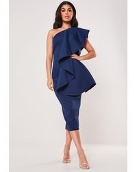 Missguided Navy Scuba One Shoulder Midi Dress - Blue