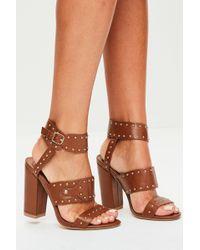 2e3a328340d Missguided - Tan Multi Strap Studded Block Heels - Lyst